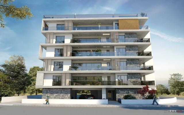Front view at night apt to buy in Larnaca