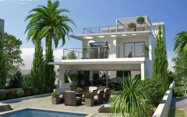 Back view of villa to buy in Pervolia