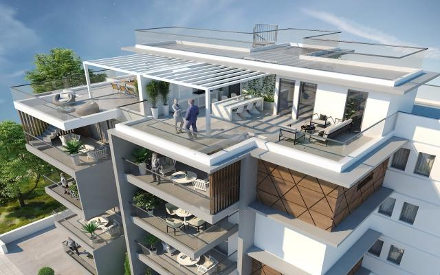 Complex consists of roof gardens for the upper apt
